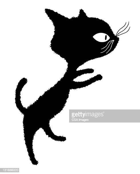 illustrations, cliparts, dessins animés et icônes de black cat standing - chat noir