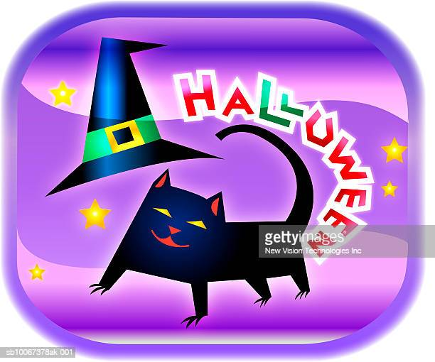 Black cat with text 'Halloween' over it