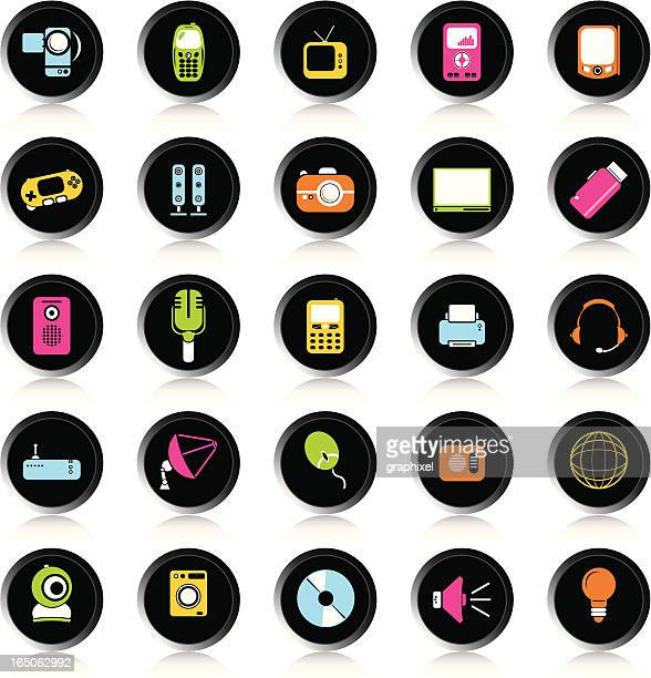 black colorful electronic icons - joystick stock illustrations, clip art, cartoons, & icons