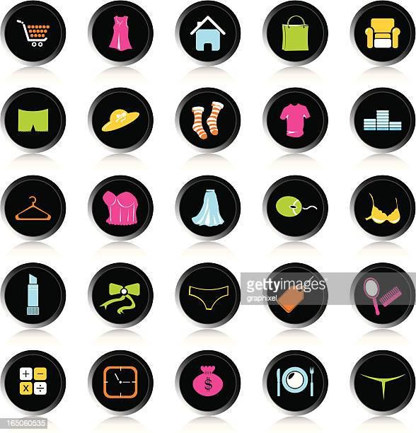 ilustraciones, imágenes clip art, dibujos animados e iconos de stock de negro coloridos iconos comerciales - tanga