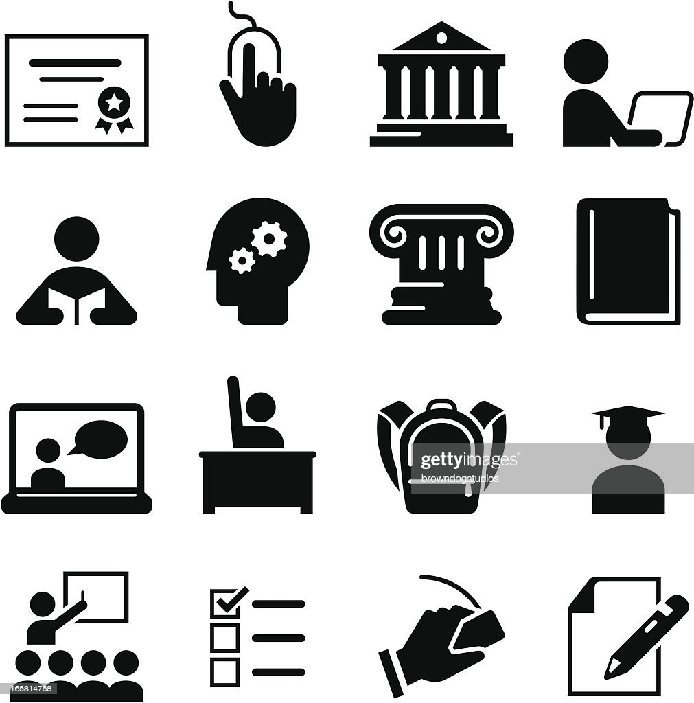 Black education icons on white background