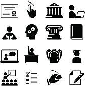 Black education icons on white background