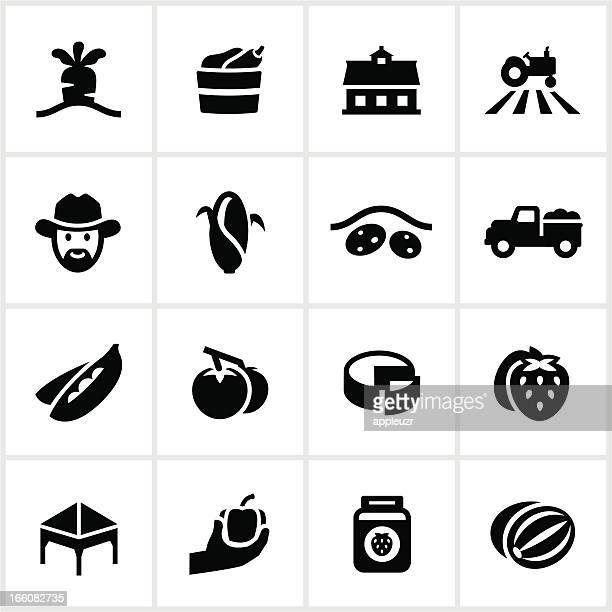 ilustraciones, imágenes clip art, dibujos animados e iconos de stock de farmer's market iconos negro - puesto de mercado