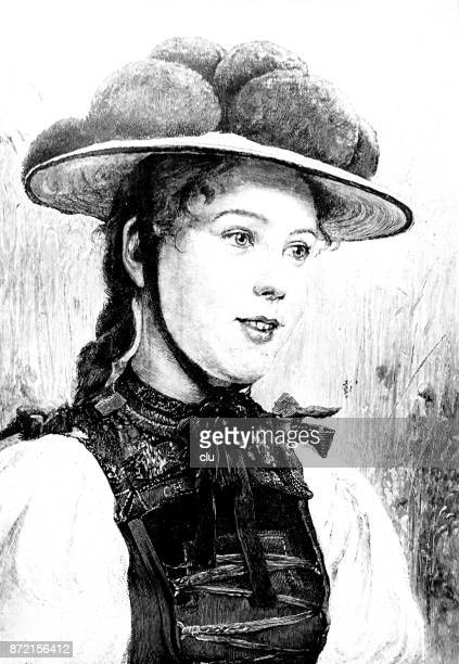 black forest woman with a typical bollard hat from the gutach valley - only young women stock illustrations