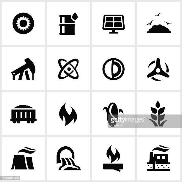 ブラックの燃料発電アイコン - 火力発電所点のイラスト素材/クリップアート素材/マンガ素材/アイコン素材