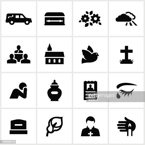 black funeral icons - terminal illness stock illustrations, clip art, cartoons, & icons