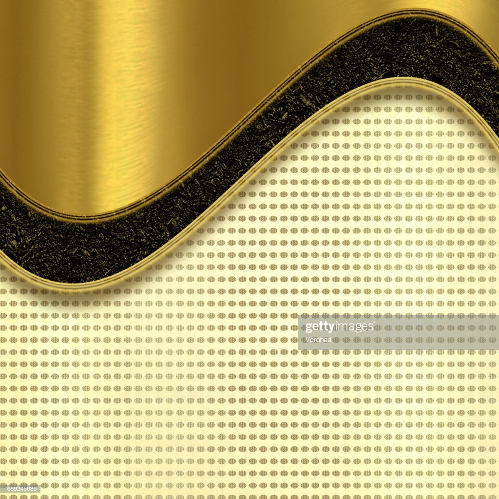 Black, golden and beige background with curved lines and ellipse shapes : Stock Illustration