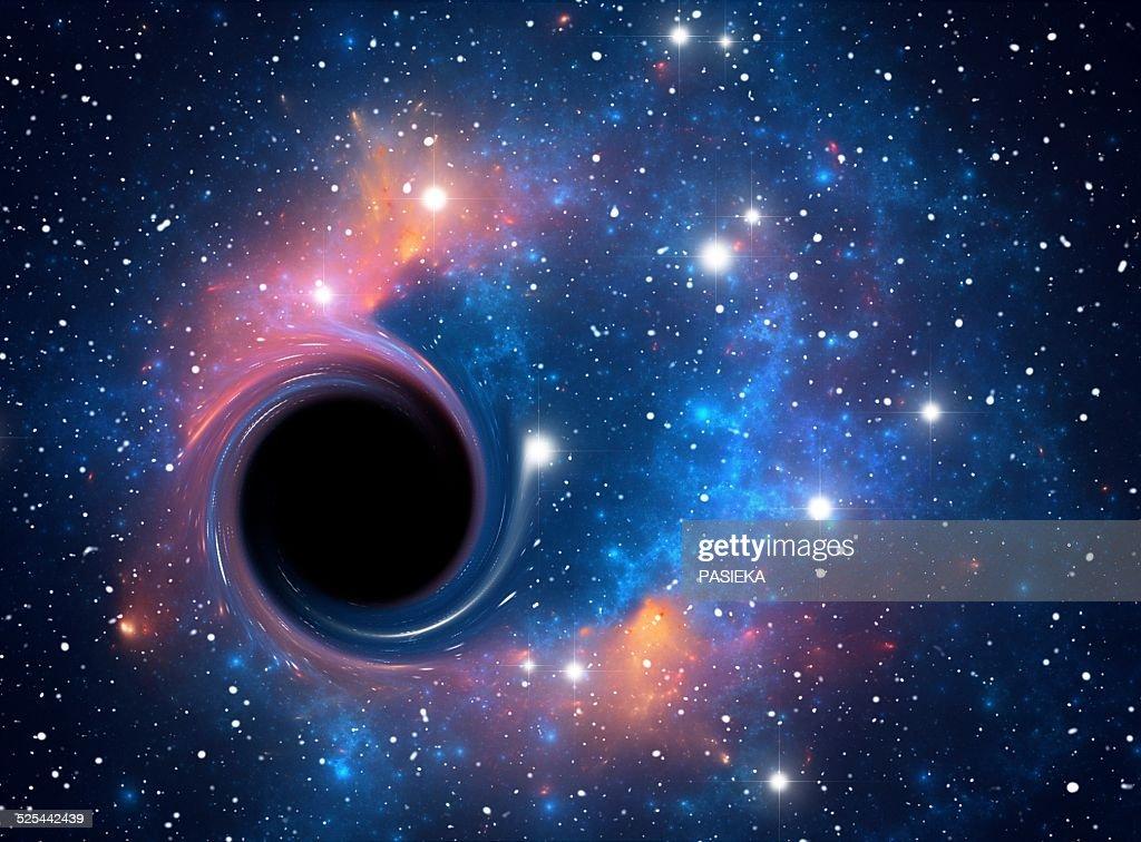 Black hole against starfield, artwork : stock illustration