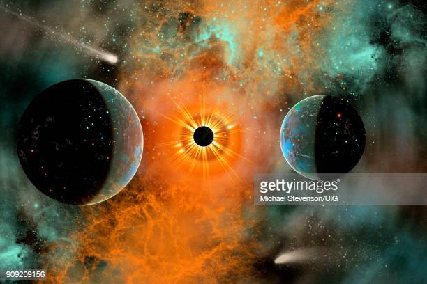 black hole capturing anything that comes into its gravitational field. - black hole stock illustrations