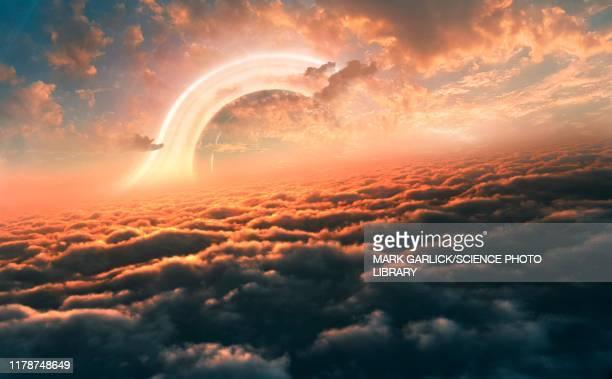 black hole seen from a planet, illustration - extrasolar planet stock illustrations