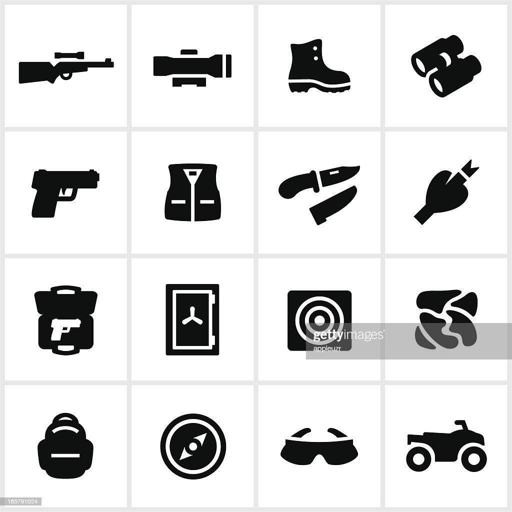 Black Hunting Equipment Icons