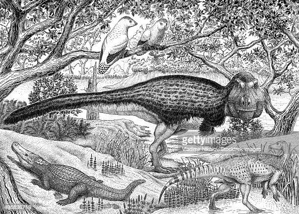 ilustraciones, imágenes clip art, dibujos animados e iconos de stock de black ink drawing of extinct animals from the hell creek formation. - biodiversidad