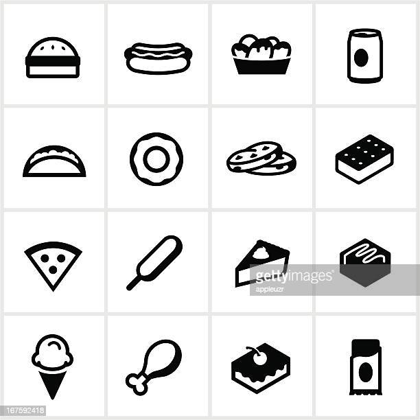 black junk food icons - chicken pie stock illustrations, clip art, cartoons, & icons