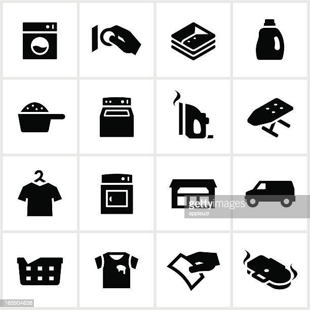 black laundromat icons - iron appliance stock illustrations, clip art, cartoons, & icons
