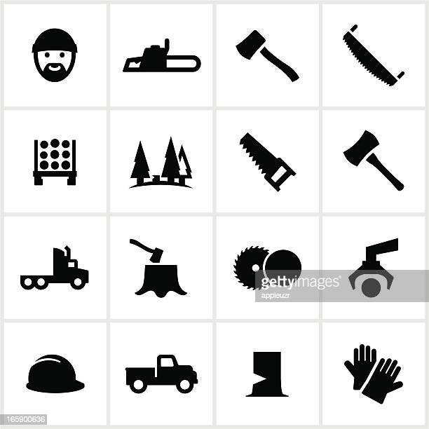 ilustrações de stock, clip art, desenhos animados e ícones de preto ícones de lenhador - desmatamento