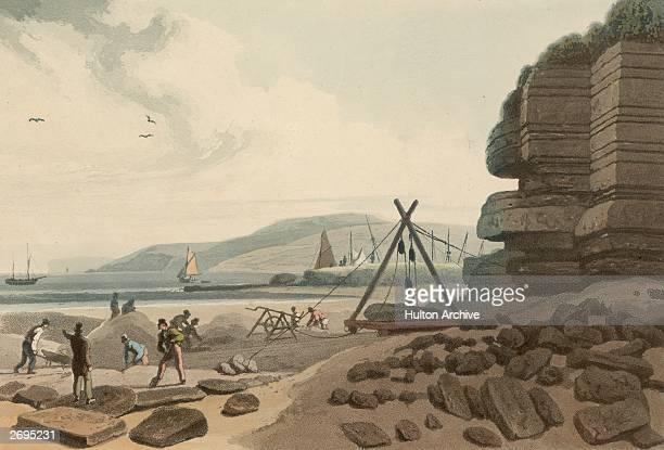 A black marble quarry near Red Wharf Bay in Anglesea Original Artwork Aquatint by William Daniell