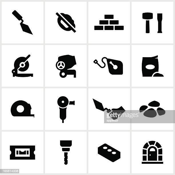 black masonry icons - stone stock illustrations, clip art, cartoons, & icons