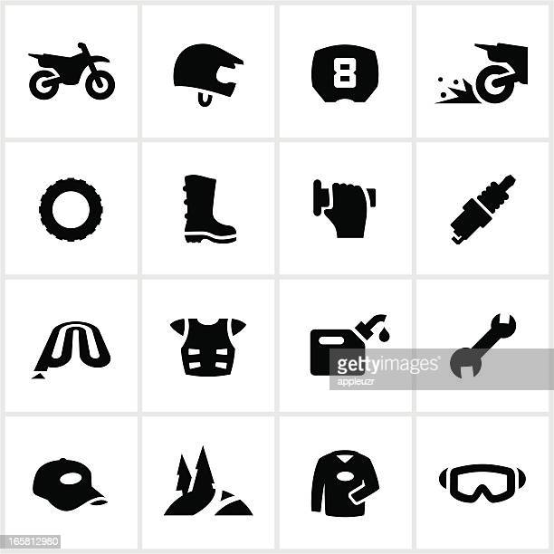 black motocross and dirtbike icons - motocross stock illustrations, clip art, cartoons, & icons