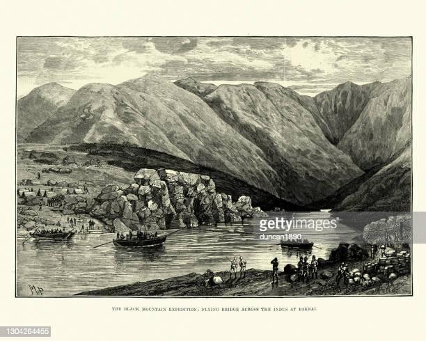 illustrazioni stock, clip art, cartoni animati e icone di tendenza di spedizione black mountain 1891, costruzione di un ponte attraverso l'indo a bakrai - etnia indo asiatica