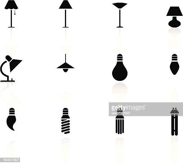 black n white icons - lights - pendant light stock illustrations