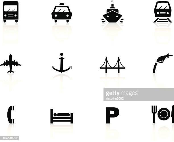 black n white icons - travel - parking sign stock illustrations