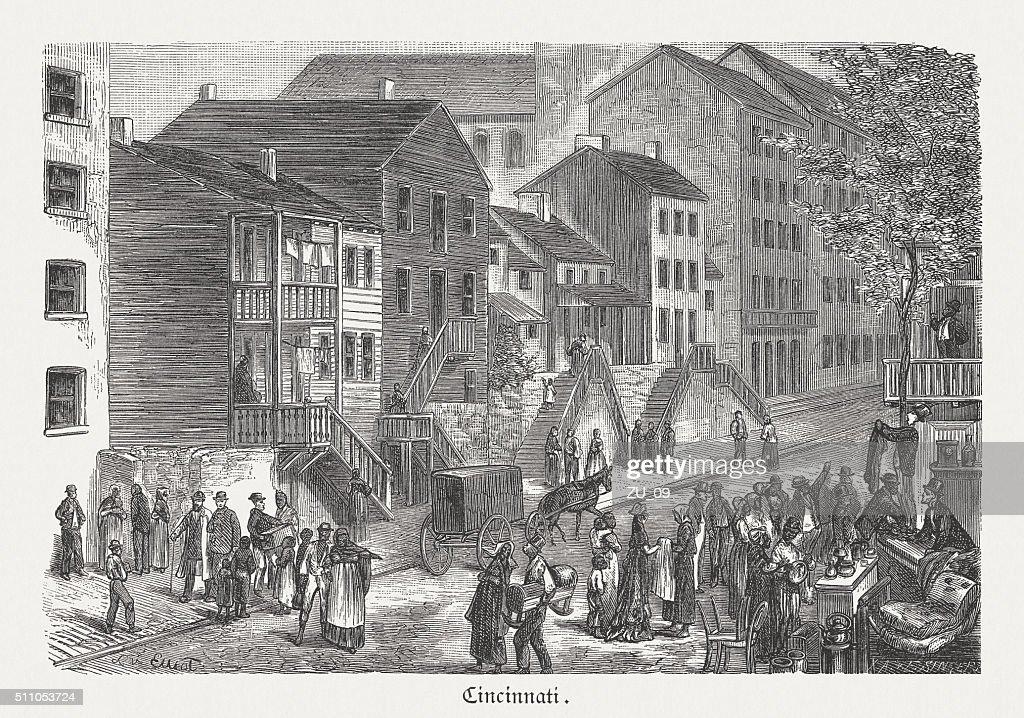 Black neighbourhood in Cincinnati, wood engraving, published in 1880 : stock illustration