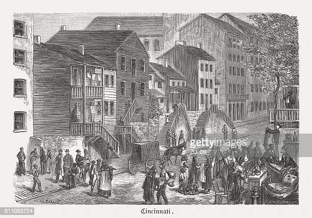 black neighbourhood in cincinnati, wood engraving, published in 1880 - human settlement stock illustrations, clip art, cartoons, & icons