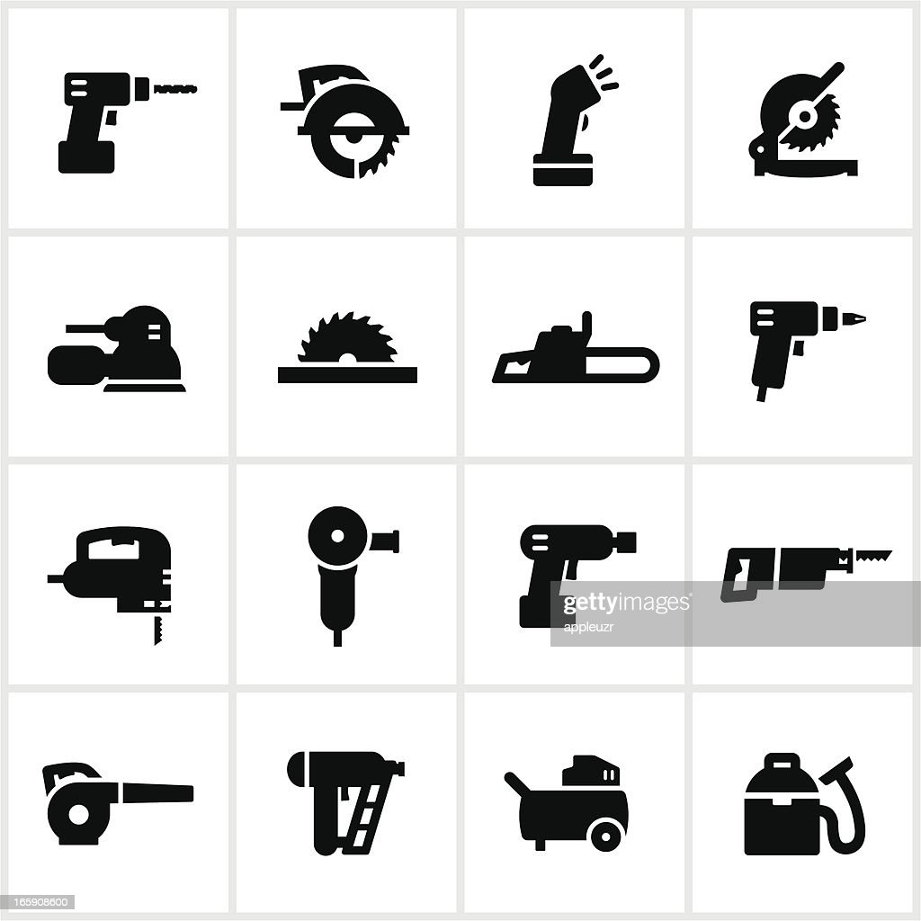 Black Power Tools Icons : stock illustration