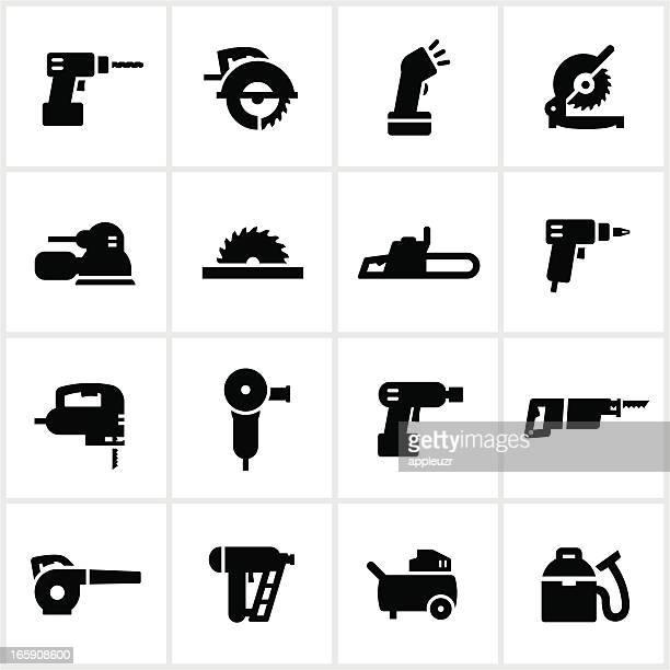 stockillustraties, clipart, cartoons en iconen met black power tools icons - gekarteld