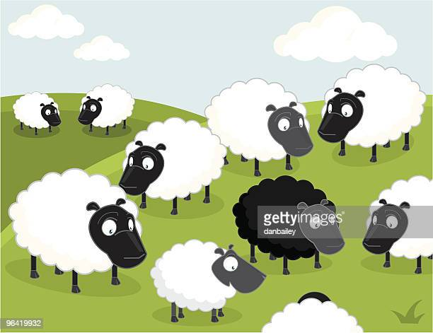 black sheep of the family - sheep stock illustrations, clip art, cartoons, & icons