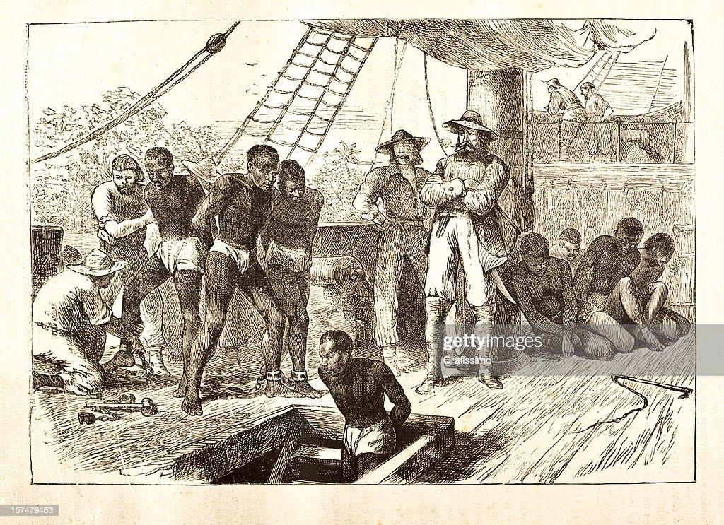 Black slaves loaded on ship 1881 : stock illustration
