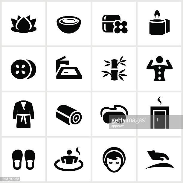 black spa icons - body conscious stock illustrations, clip art, cartoons, & icons
