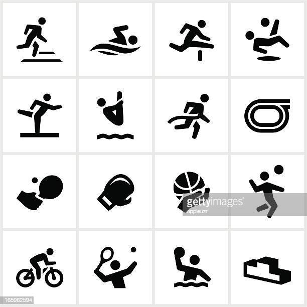 black sports figures icons - hurdle stock illustrations