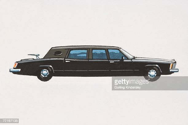 Black stretch limousine.