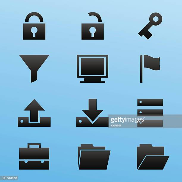 Black Style Icon Set Computer Security