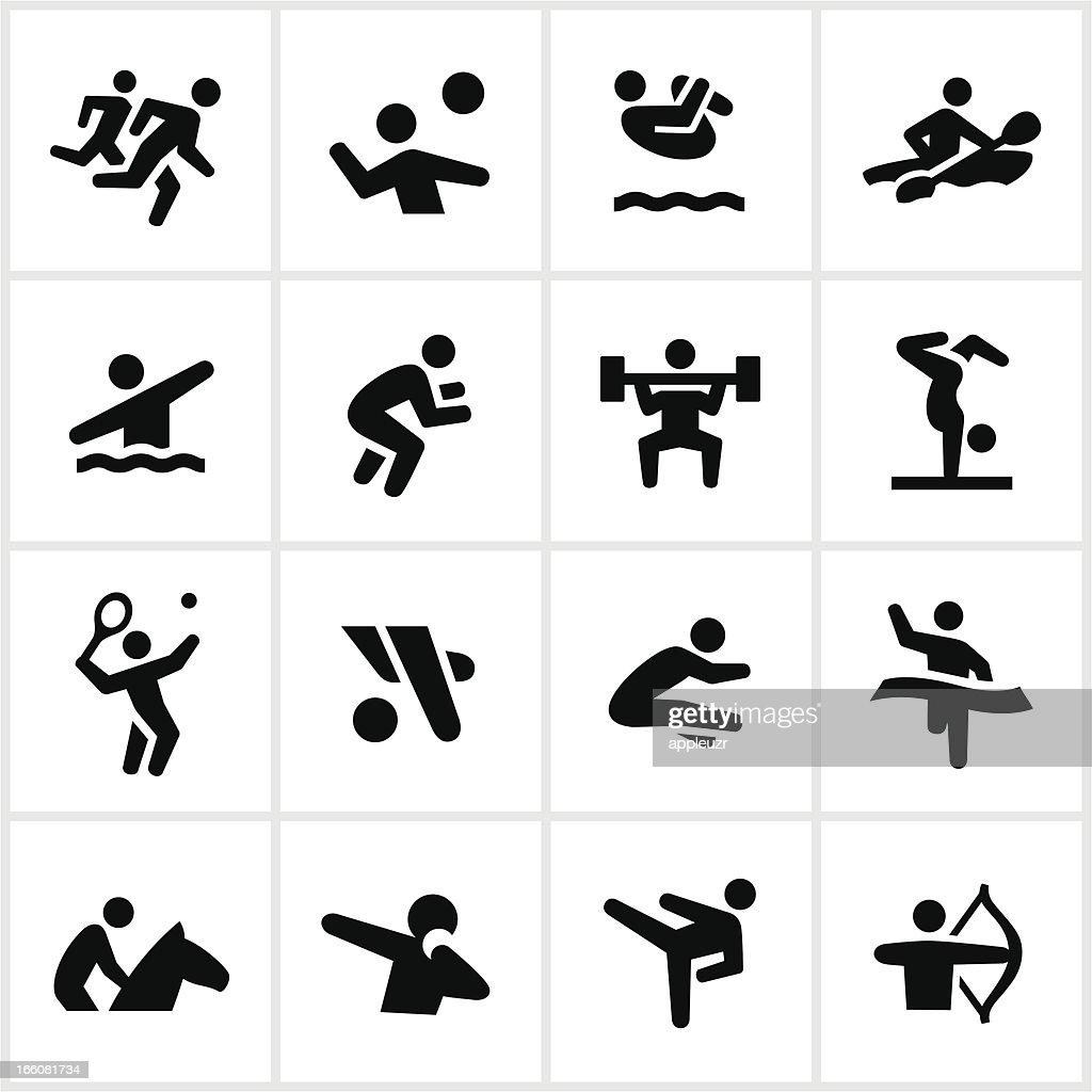 Black Summer Games Icons : Stock Illustration