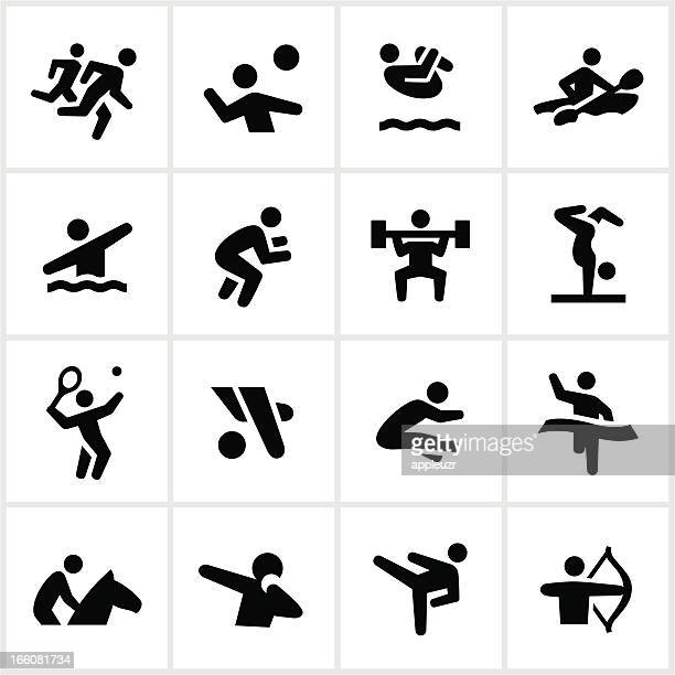 black summer games icons - gymnastics stock illustrations