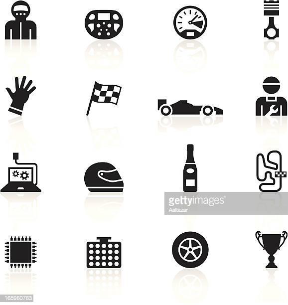 black symbols - formula one - formula one racing stock illustrations, clip art, cartoons, & icons