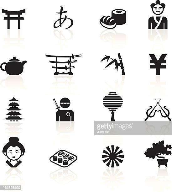 black symbols - japan - pagoda stock illustrations, clip art, cartoons, & icons