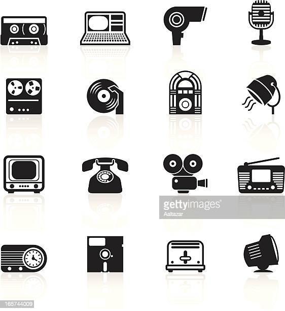 black symbols - retro electronics - hair dryer stock illustrations, clip art, cartoons, & icons