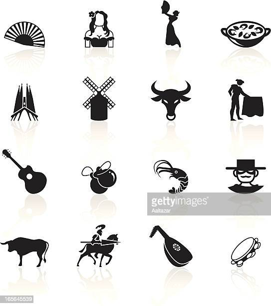 black symbols - spain - bullfighter stock illustrations, clip art, cartoons, & icons