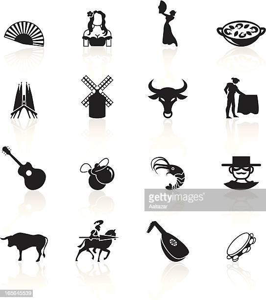 black symbols - spain - spanish dancer stock illustrations, clip art, cartoons, & icons