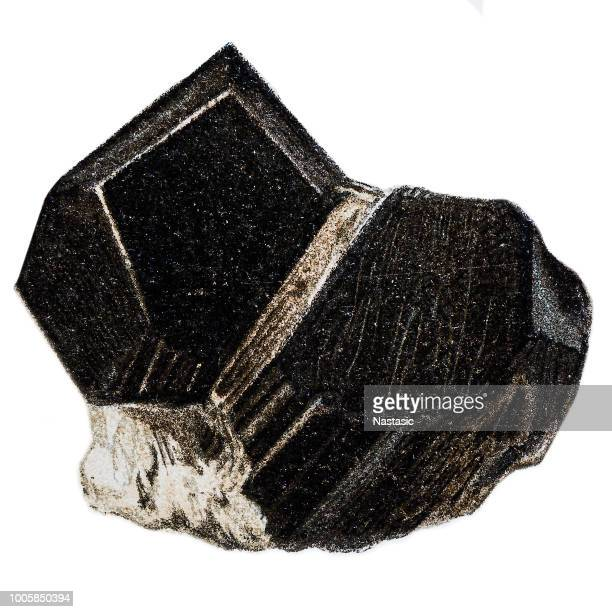 Black tourmaline uncut rock