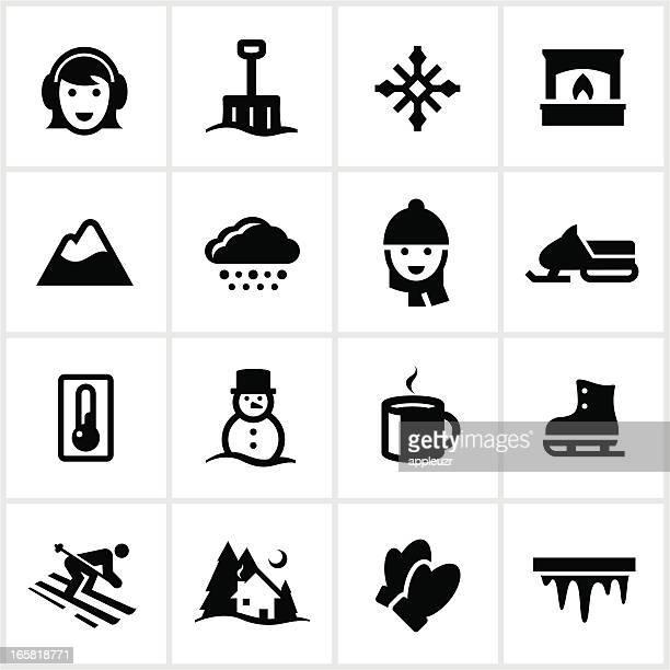 black winter icons - winterdienst stock illustrations