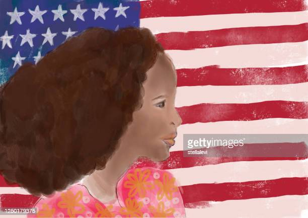 black woman and american flag - stellalevi stock illustrations