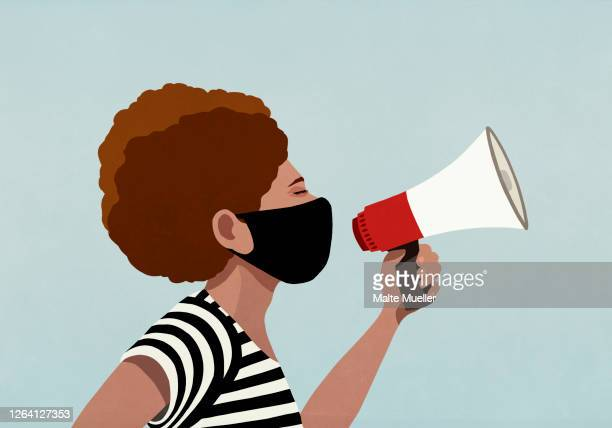 black woman in face mask using megaphone - democracy stock illustrations