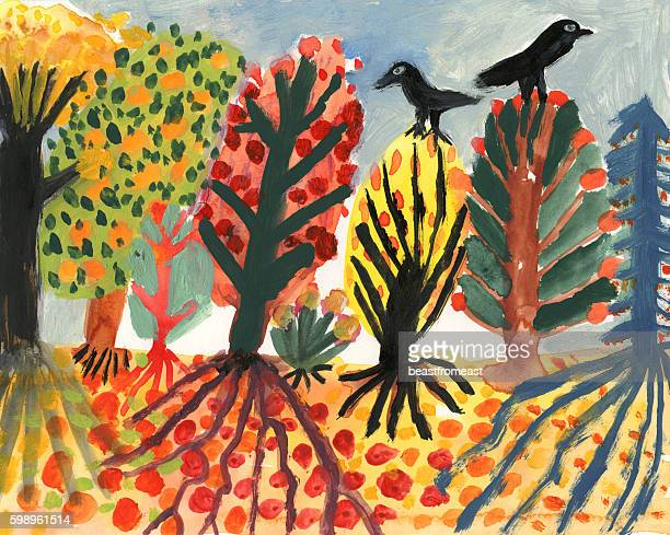 Blackbirds and autumn trees
