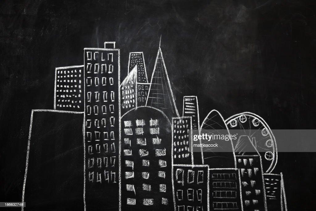 Blackboard city : Stock Illustration