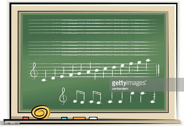 blackboard with notes - treble clef stock illustrations, clip art, cartoons, & icons