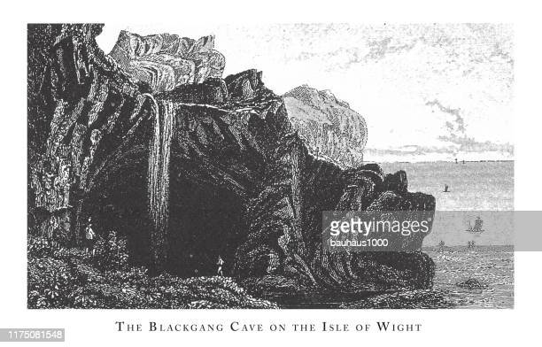 blackgang cave on the isle of wight, forests, lakes, caves and unusual rock formation engraving antique illustration, published 1851 - basalt stock illustrations, clip art, cartoons, & icons
